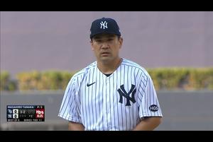 【スポーツナビMLB】<br /> 1回表、ヤンキースの田中将大は三振2つを奪い無失点に抑える上々の立ち上がりを見せた。