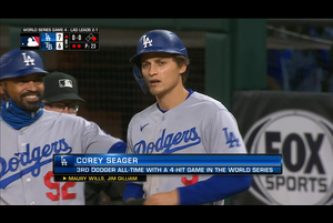 【MLB】8回表 シーガーの勝ち越しタイムリーヒット!! 10/25 レイズvs.ドジャース
