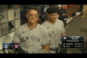 【MLB】5回表 ジャッジの勝ち越しのソロホームラン 10/6 レイズvs.ヤンキース