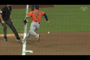 【MLB】3回裏 ロウのシフトを破るバントヒット 10/18 レイズvs.アストロズ