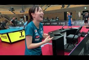ストレッチからのお茶目な石川佳純選手|2020 JAPAN オールスタードリームマッチ