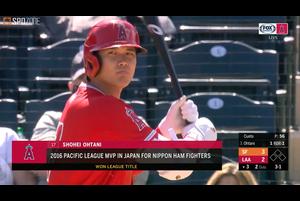 【SPOZONE MLB】<br /> 日本時間12日に行われているジャイアンツ戦に3番DHで出場しているエンゼルスの大谷翔平の第2打席はショートへの内野安打を放つ。