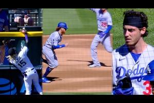 【SPOZONE MLB】<br /> 日本時間2日に行われたロッキーズとの開幕戦に出場したドジャースのコディ・ベリンジャーが、ジャスティン・ターナーを一塁に置いて放った打球はロッキーズのタピアが一度は捕球したもののボールを落としてしまいホームランとなるはずだったが、一塁走者のターナーがアウトと勘違いして全速力で一塁に戻ったことで、ベリンジャーが追い抜いてしまう形となりアウトとなった。