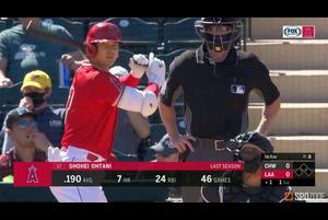 【MLB】大谷翔平 スプリングトレーニング初打席でヒットを放つ 3.2