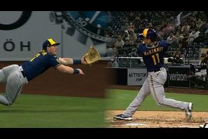 【SPOZONE MLB】<br /> 日本時間21日に行われたパドレス戦に出場したブリュワーズのビリー・マッキニーは、本塁打、ダイビングキャッチと攻守に活躍し勝利に貢献した。