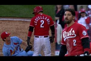 【SPOZONE MLB】<br /> 日本時間4日に行われた<br /> カージナルスとレッズ戦の4回裏レッズのカステヤーノスが死球を受け、その後ワイルドピッチでホームに生還したカステヤーノスとカージナルスの投手ウッドフォードが交錯し両軍入り乱れての乱闘騒ぎとなった。