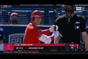 【MLB】エンゼルス 大谷翔平の第2打席はレフト前ヒット vs.ブリュワーズ 3.9