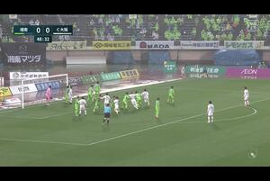 J1リーグ第6節 湘南vs.C大阪。後半4分、C大阪・坂元達裕のクロスがクロスバーに弾かれるシーンです。<br /> 試合詳細:https://soccer.yahoo.co.jp/jleague/category/j1/game/2021032107/summary