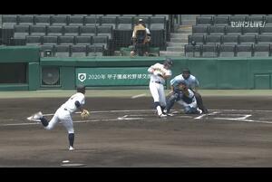 【甲子園交流試合】明徳義塾 - 鳥取城北 1回表 鳥取城北・吉田 貫汰の打席。一死一、三塁、ライトへのタイムリーヒットで先制。
