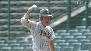 【甲子園交流試合】明徳義塾 - 鳥取城北 8回表 鳥取城北・吉田 貫汰の打席。一死二、三塁、ライトへのタイムリーヒットで一点追加。