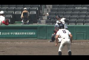 【甲子園交流試合】尽誠学園 - 智弁和歌山 4回裏 尽誠学園・仲村 光陽の打席。一死二塁、ランナー二塁からタイムリーツーベースで一点追加。