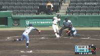 【甲子園交流試合】大阪桐蔭 - 東海大相模 1回裏 大阪桐蔭・吉安 遼哉の打席。二死一、三塁、ライトへのタイムリーヒットで先制。