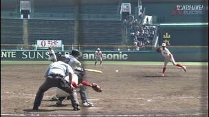 【甲子園交流試合】尽誠学園 - 智弁和歌山 4回裏 尽誠学園・川崎 風汰の打席。二死一、二塁、センターへのタイムリーヒットで一点追加。