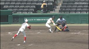 【甲子園交流試合】尽誠学園 - 智弁和歌山 2回裏 尽誠学園・福井 駿の打席。一死二、三塁、レフトへのタイムリーヒットで二点追加。