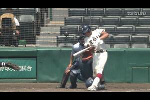 【甲子園交流試合】大阪桐蔭 - 東海大相模 8回裏 大阪桐蔭・藪井 駿之裕の打席。一死二、三塁、レフトへの勝ち越しタイムリーヒット。