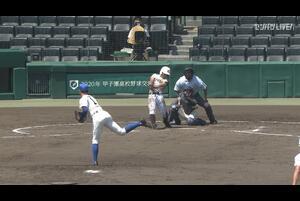 【甲子園交流試合】国士舘 - 磐城 3回裏 国士舘・水村 颯一郎の打席。無死二、三塁、ライトへのヒットで逆転。