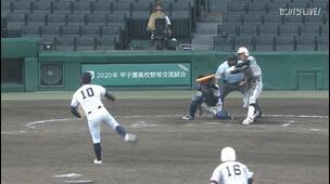 【甲子園交流試合】日本航空石川 - 鶴岡東 8回表 鶴岡東・小林 三邦の打席。一死二塁、センターへのタイムリーツーベースで一点追加。