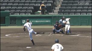【甲子園交流試合】国士舘 - 磐城 2回表 磐城・首藤 瑛太の打席。無死満塁、ダブルプレーの間に一人ランナーがかえり先制。