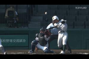 【甲子園交流試合】日本航空石川 - 鶴岡東 1回表 鶴岡東・馬場 和輝の打席。一死一塁、センターへのタイムリーツーベースで先制。