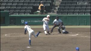 【甲子園交流試合】国士舘 - 磐城 6回裏 国士舘・斎藤 光瑠の打席。無死一、三塁からレフトへの犠牲フライ。