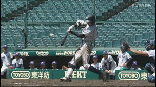 【甲子園交流試合】天理 - 広島新庄 5回表 広島新庄・明光 竜之介の打席。一死二塁、センターへの勝ち越しタイムリーツーベース。