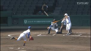 【甲子園交流試合】県岐阜商 - 明豊 1回表 明豊・小川 聖太の打席。二死一塁、ライトへのタイムリーツーベースで先制。