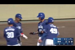 4月7日(水)に阪神鳴尾浜球場で阪神タイガース対中日ドラゴンズの一戦が行われた。<br /> 8回満塁のチャンスで打席には福田永将。完璧にとらえた打球はレフトスタンドに入り満塁ホームラン!!!!福田は先制タイムリーと満塁弾で5打点の大活躍となった。