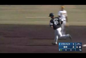 4月20日(火)、阪神鳴尾浜球場で行われた阪神タイガース対福岡ソフトバンクホークスの一戦で、9回表、ソフトバンク・谷川原健太選手が代打で登場し、本塁打を放った。