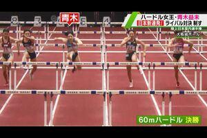 陸上・日本室内選手権第1日が17日行われ、室内60メートルハードルに出場の日本選手権覇者・青木益未が日本新記録を樹立した。<br /> <br /> 青木は磨きあげてきたスタートダッシュに成功すると、今シーズン初戦で8秒06を出しいきなり日本記録を樹立する。<br /> <br /> さらに決勝では、100メートルハードル日本記録保持者・寺田明日香と対決。スタートが光り、その後グングン加速した青木、8秒05を出し日本新記録で優勝した。<br /> <br /> 日本記録を立て続けに更新した青木、東京オリンピック代表入りへ好発進した。<br /> <br /> 【追跡LIVE!SPORTSウォッチャー】<br /> テレビ東京:月~金曜夜11時58分/土曜夜11時/日曜夜10時54分<br /> BSテレ東:土曜深夜1時/日曜深夜1時45分<br /> <br /> Twitter:https://twitter.com/TVTOKYO_sports<br /> Instagram:https://www.instagram.com/sportswatcher/<br /> Facebook:https://www.facebook.com/tx.sportswatcher<br /> <br /> 【テレビ東京スポーツ】<br /> 卓球、ソフトボール、競馬、野球、サッカー などメジャー・マイナー競技のスポーツ情報を発信。テレビ東京 独自の取材、現役選手・監督の貴重なインタビューなども随時掲載。<br /> <br /> ▼チャンネル登録よろしくお願いします▼<br /> https://www.youtube.com/tvtokyo_sports