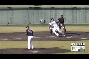 【9回裏】野村、センターへのツーベースヒット! 11/14日本ハムvsオリックス フェニックスリーグ