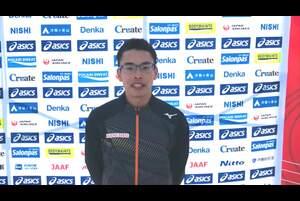 2月21日(日)、第104回日本選手権男子・女子20km競歩が、東京オリンピックの代表選考会を兼ねて、兵庫県神戸市の六甲アイランドで開催されました。<br /> <br /> 男子20km競歩で東京オリンピック代表に内定済みの山西利和選手(愛知製鋼、前回優勝者)が、1時間17分20秒で2連覇を遂げました。レース後のコメントです。<br /> <br /> 大会の模様は、<br /> ・日本陸連公式YouTubeチャンネル(https://www.youtube.com/watch?v=Ek2uMf5MFCs )<br /> ・応援TV・日本陸連公式チャンネル(https://ohen.tv/channel/)<br /> でご覧いただけます。