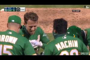 【MLB SPOZONE】1-1で迎えた9回裏、満塁の場面で打席が回ってきたピスコッティのサヨナラグランドスラムでアスレチックスが勝利を収めた。