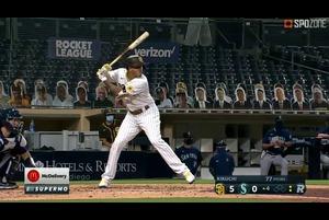 【SPOZONE MLB】<br /> 菊池雄星からの一発を含む2本塁打で4打点を叩き出したマニー・マチャドがSPOZONE Today's Match MVPに選出!ムーキー・ベッツ(ドジャース)と並んでナ・リーグ本塁打王争いの1位タイに浮上しました!