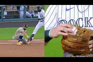 【SPOZONE MLB】<br /> 日本時間29日ロッキーズの本拠地で行われたパドレス戦の1回裏ロッキーズのブラックモンが放ったセカンドゴロは併殺に終わると思われたが、ファーストを守るホズマーのグローブをボールがすり抜ける珍事が起こった。さらにこの試合の3回表パドレスのタティスJrのセカンド強襲のゴロをロッキーズのライアン・マクマーンがダイビングキャッチするもグローブにボールが挟まり一塁に送球できなかった。