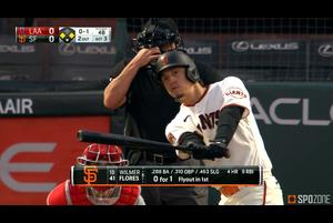 【SPOZONE MLB】ジャイアンツのフローレスは、エンゼルス戦で4打点を挙げる活躍でチームを勝利に導いた。