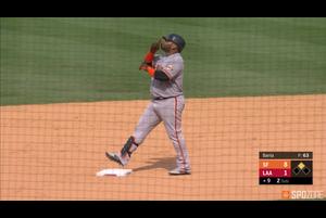 【SPOZONE MLB】ジャイアンツのサンドバルはエンゼルス戦で、3打点を挙げる活躍を見せた。