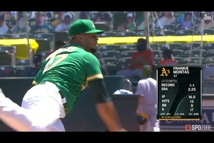【MLB】8.9 7回を僅か被安打2に抑えたモンタス [HOU@OAK]