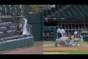 【SPOZONE MLB】ホワイトソックスの本拠地で行われたブリュワーズ戦の5回表一死で打席に立ったブリュワーズのイェリッチが放ったレフト線ギリギリのフライをホワイトソックスのヒメネスが追うも捕球できずネットにダイブ。その間に打ったイェリッチがランニングホームランを決めた。