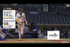 【MLB SPOZONE】5回裏、パドレスのタティスJr.は打球速度112.1マイル、推定飛距離430フィートという豪快な一発を放った。
