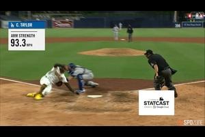 【MLB】8.6 9回裏 テイラーの送球で同点のランナーをホームで刺して試合終了!! [LAD@SD]