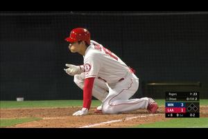 【MLB】8回裏 大谷翔平 第4打席は右手に直球を受けるも空振り三振 5/21 エンゼルスvs.ツインズ