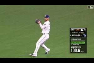 【MLB】レイズの名手 キーアマイヤー 100.6マイルの好返球! 5/23 レイズvs.ドジャース
