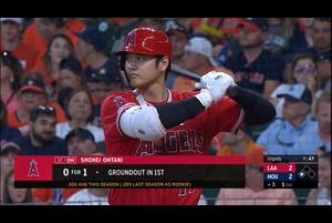 【スポーツナビMLB】7/8(日本時間)敵地で行われているアストロズ戦の3回表、3番DHで出場している大谷翔平の第2打席は、一死三塁で勝ち越し2ランホームランを放つ。