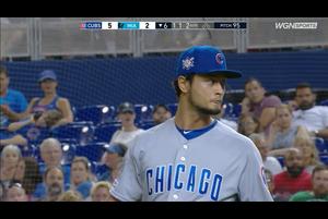 【MLB】6回裏 ダルビッシュ 2アウトを取り後続に死球を与えたところで降板 4/16 マーリンズvs.カブス