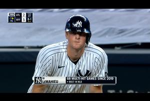 【MLB】5回裏 二死二塁でルメイヒューのタイムリーで3点差へ 8/13 ブレーブスvs.ヤンキース