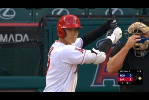 【スポーツナビMLB】<br /> エンゼルスの大谷翔平は第1打席、一度もバットを振らずに四球を選んで出塁した。