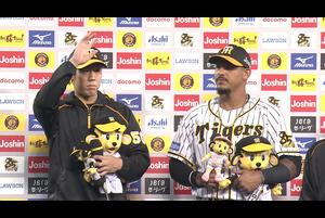 本日のヒーローインタビューは、今季7勝目の青柳投手と第3号ツーランホームランのマルテ 選手