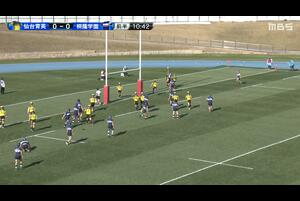 【全国高校ラグビー】3回戦 桐蔭学園 vs. 仙台育英 敵陣ゴールライン付近、10のキックパスに反応した15がキャッチしそのままトライ。G成功。