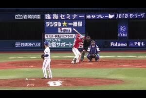 9回表、宮崎選手がサードライナーをダイビングキャッチ!!