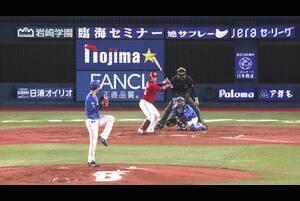 4回表、大和選手のナイスキャッチで京山選手を守備で援護!